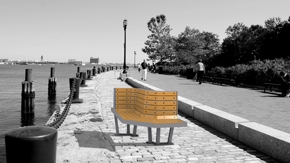 S•Bench was designed to embrace the vibrancy and air of relaxation at Fort Point, Boston.