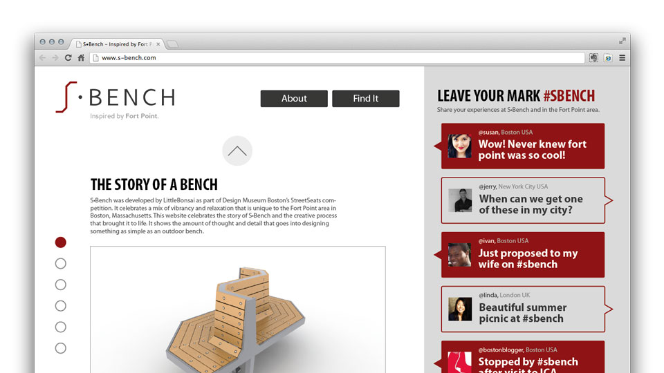 A concept website was designed to allow potential visitors to engage with the bench and its story.